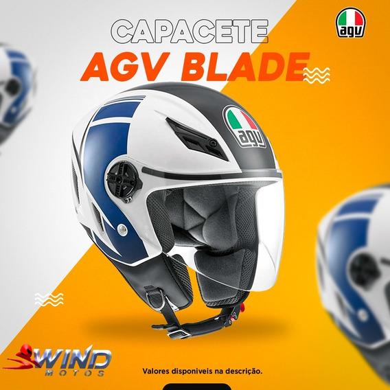 Capacete Agv Blade Azul E Branco
