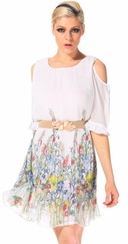 Vestido Blanco Gasa Plisada Floral Talla M Nuevo Importado