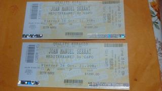 Dos Entradas Recital De Joan Manuel Serrat, Córdoba, 26/10,
