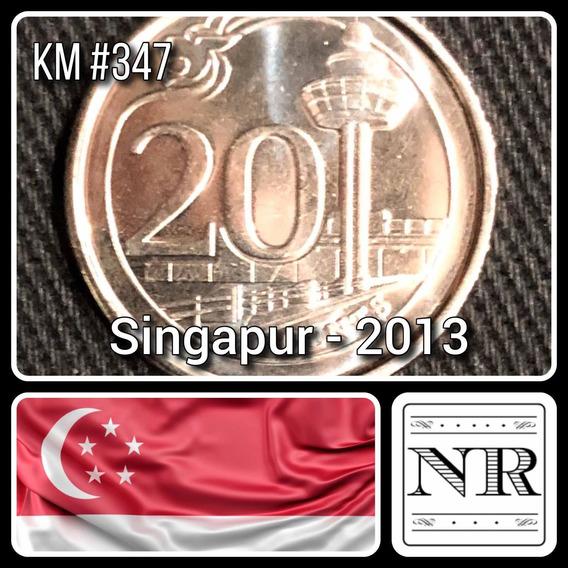 Singapur - 20 Cents - Año 2013 - Km #347 - Aeropuerto
