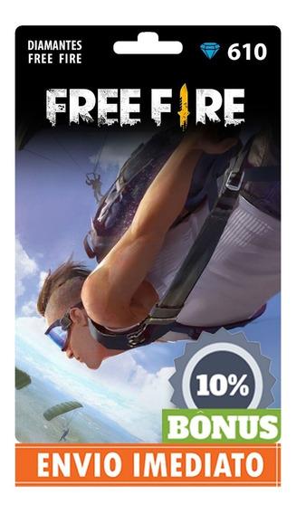 Free Fire 610 Diamantes +61 Bônus (671) Recarga P/ Conta