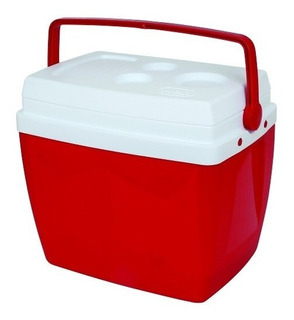 Caixa Térmica 34 Litros Azul Ou Vermelha Com Alça Mor *