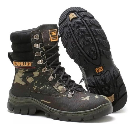 Bota Coturno Cat Caterpillar Camuflada Militar Lançamento! Tatico Trilha Point Ball