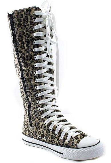 Botas Largas Con Cierre P/ Dama. Leopardo Y Agujeta Blanca