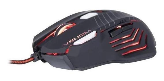 Mouse Gamer Fortrek Venom 2000dpi 7 Botões Led Vermelho + Nf