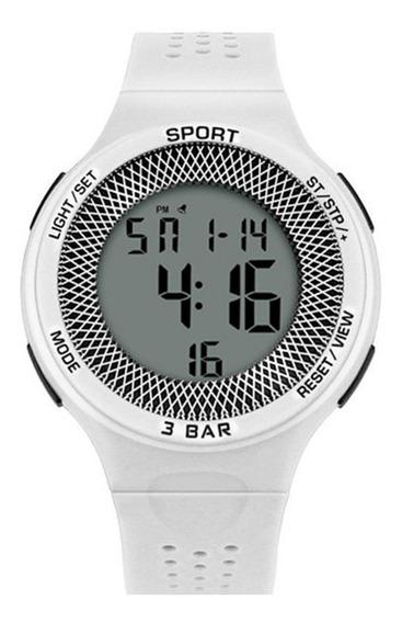 Relógio Feminino Sport Branco Fitness Prova De Água Cronometro Calendário Alarme E Luz Frete Grátis