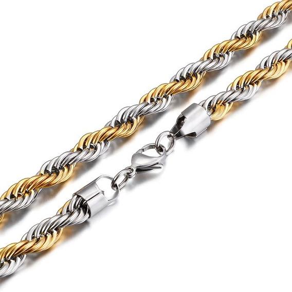 Corrente Masculina 60cm 4mm Duas Cores Aço E Banhado A Ouro