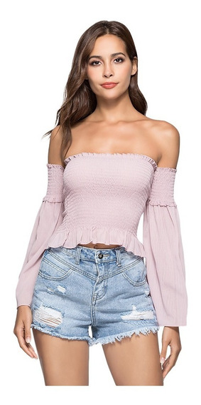 Sexy Off The Shoulder Removable Bell Sleeve Elastic Crop Top