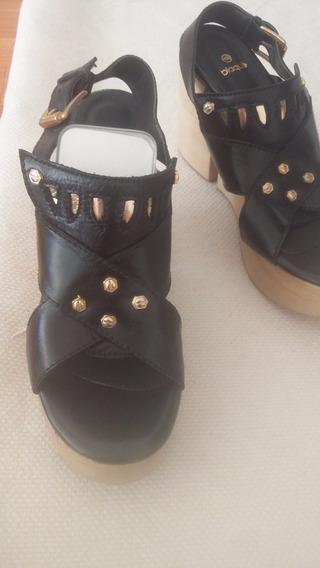 Sandalia Plataforma De Madera Blaque