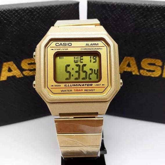 Relógio Dourado Digital Vintage B650wd-1adf Original Oferta