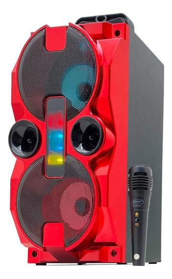 Caixa Som Bluetooth Amplificada Microfone Usb Fm Aux Potente