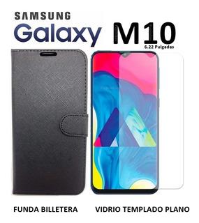 Funda Estilo Billetera + Templado Samsung Galaxy M10 Rosario
