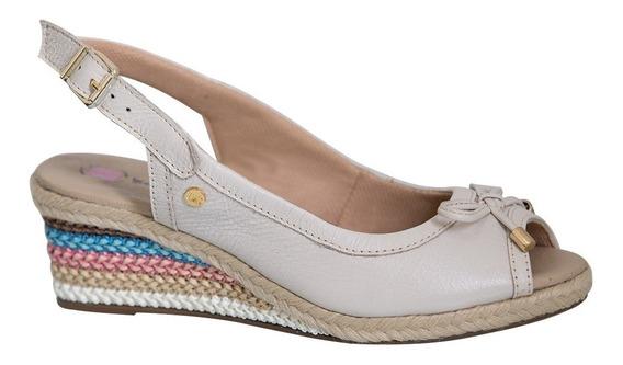 Sandália Feminina Anabela Em Couro Off White 660 Doctor Shoe