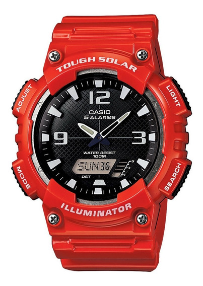Relogio Casio Vermelho Sangue Aq-s810wc-4av Touch Solar