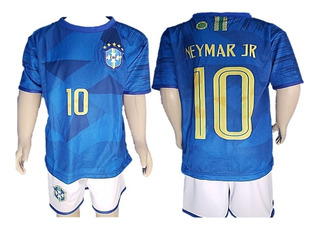 Kit Novo Conjunto Uniforme Infantil Seleção Brasileira Azul