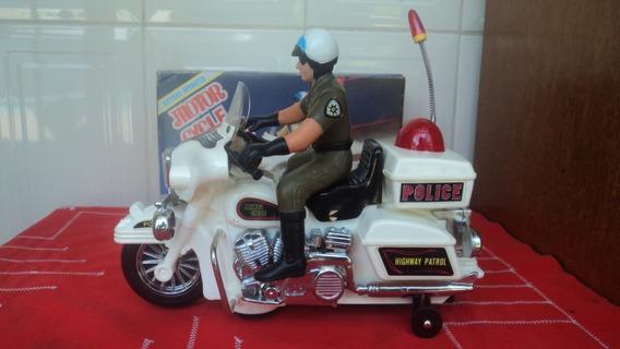 Brinquedo Antigo Moto Police Highway Patrol Funciona