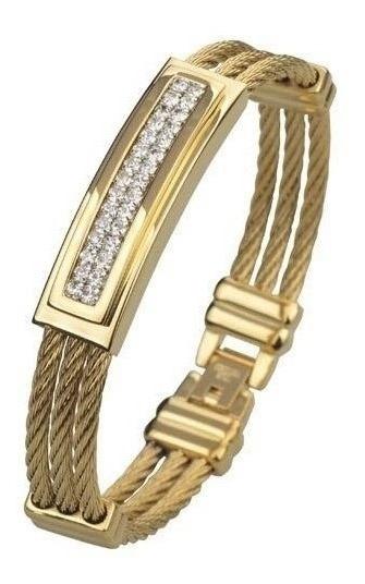 Bracelete Pulseira Masculina Aço Cirúrgico Banhada Ouro 18k