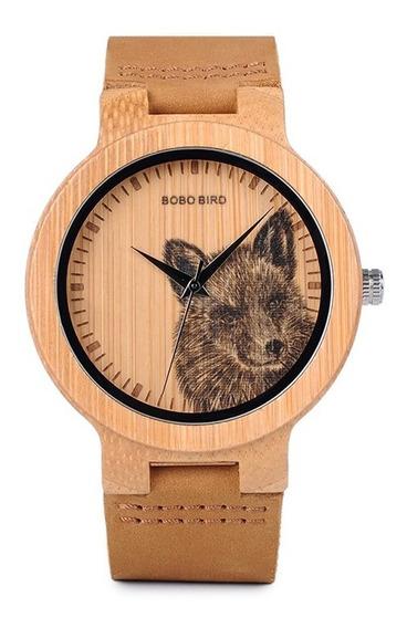 Relógio Unissex Bambu Madeira Analógico Bobo Bird P201 Lobo