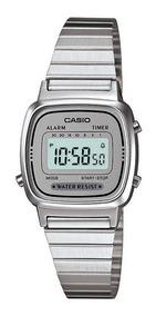 Relógio Casio Feminino La670wa-7 Tamanho Mini Prata C/ Cinza