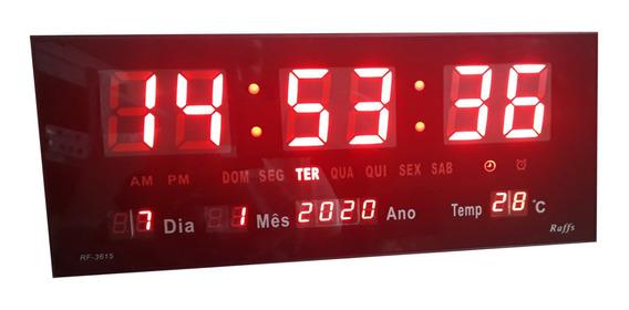 Relogio De Parede Digital Grande Led Alarme Calendário 36cm