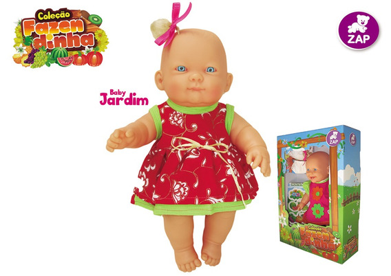 Boneca De Brinquedo Bebe Branca Fazendinha Jardim Zap 1015