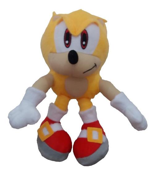 Boneco Pelúcia Sonic Amarelo 35 Cm Unissex Antialérgico Novo
