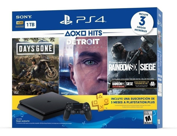Ps4 Slim 1tb Hits Bundle 5 Playstation 4 + Psplus + 3 Juegos