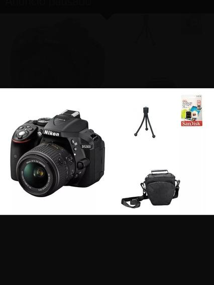 Nikon D5300+ Lente 18-55mm+32gb+bolsa+tripé+flash