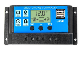 Regulador De Carga Panel Solar 20a 12v 24v Display Usb Pwm