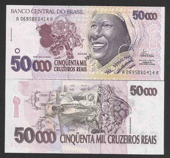 Brasil 50000 Cruzeiros Reais C240 Fe Cédula Baiana Tchequito