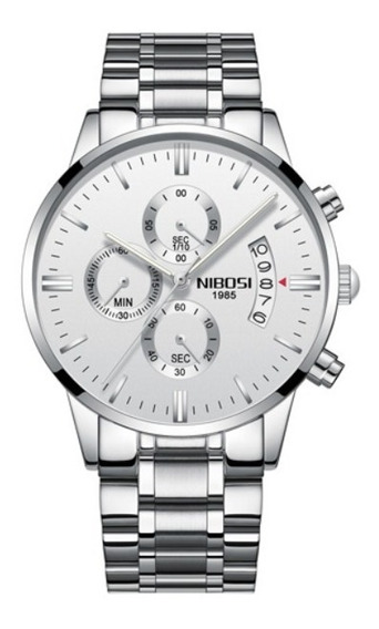 Relógio Masculino Nibosi 2309 Original Top Anti Risco Safira