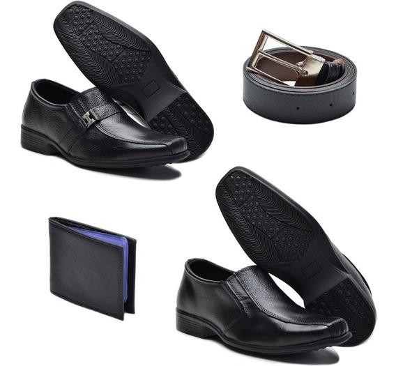 Kit 2 Sapatos Sociais Masculino Fox Couro + Carteira E Cinto