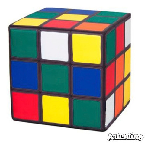 Imagen 1 de 5 de Puff Fiaca Banco Asiento Sillón Cubo Mágico Retro Rubik