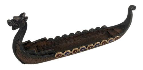 Incensario Barco Viking Drakkar Canoa Porta Incenso Resina