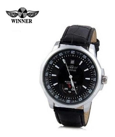 Relógio Winner Hollow H067m Preto Automático Com Pulseira De Couro