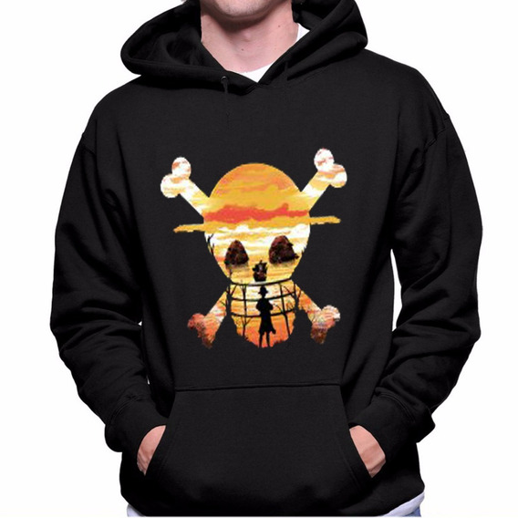 Blusa Moletom Casaco Canguru One Piece Anime Luffy