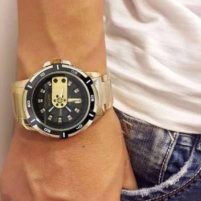 Relógio Masculino Atlantis Original Dourado Aço + Caixa