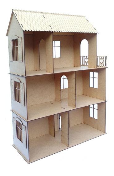 Casa De Boneca Polly Madeira Mdf Crú Brinquedo Meninas R20
