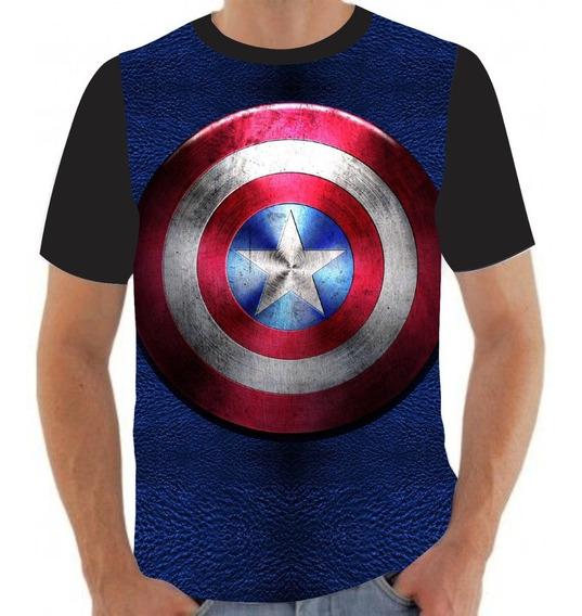 Camiseta Camisa Escudo Capitão América Vingadores- A11