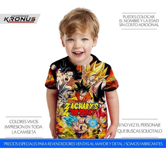 1 Franela Dragon Ball Camiseta Cotillón Fiesta Para Niños