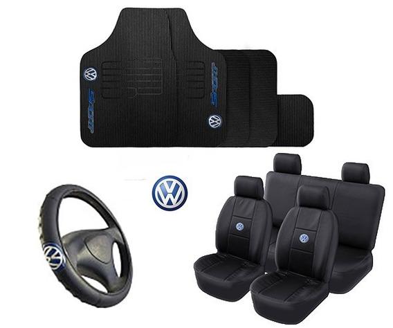 Kit Capa Banco Couro + Tapete Automotivo + Capa Volante Vw