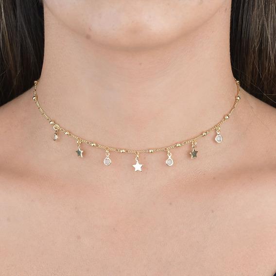 Chocker Bolinhas Com Estrelas Folheado Ouro 18k