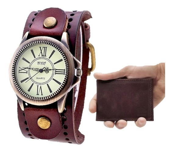 Kit Relógio Masculino Caveira Vintage Couro + Carteira Slim