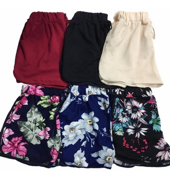 Short Feminino Kit6 Malha Lisa Flor Listrada Bolsos Otimo