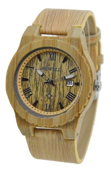 Relógio Madeira Bewell Original Cor Bege Unissex
