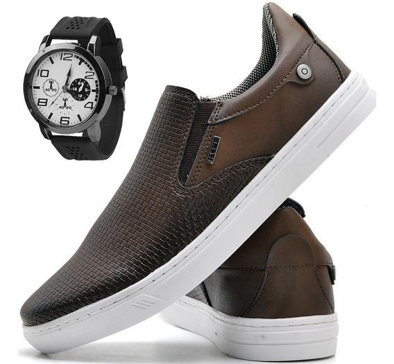 Tenis Masculino Sapato Sapatilha Iate Elástico C/ Relógio