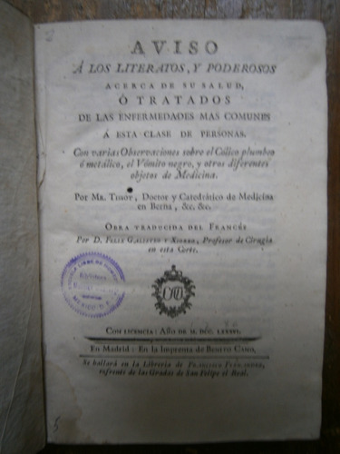 Imagen 1 de 5 de 1786 Tissot Medicina Aviso A Poderosos Acerca De Su Salud