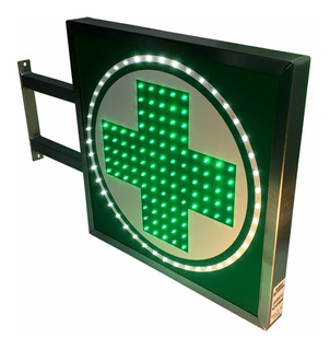 Carteles Led Cruz Farmacia 50x50 - Luminosos - Doble Faz