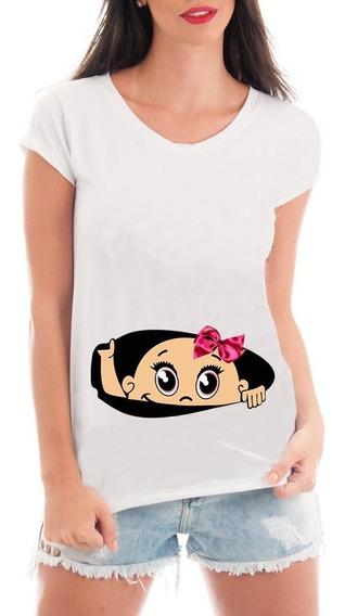 Camiseta Gestante Bebe Espiando Menina Divertida Blusa Mamãe