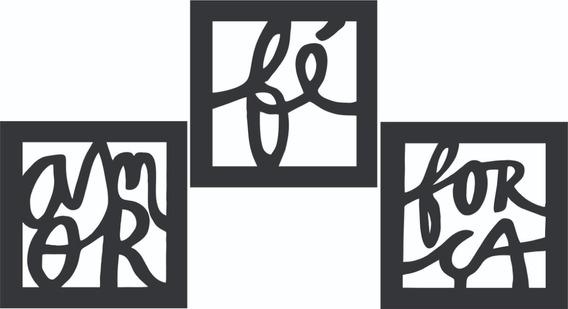 Trio Quadro Decorativo Amor, Fé, Força, Frete Gratis